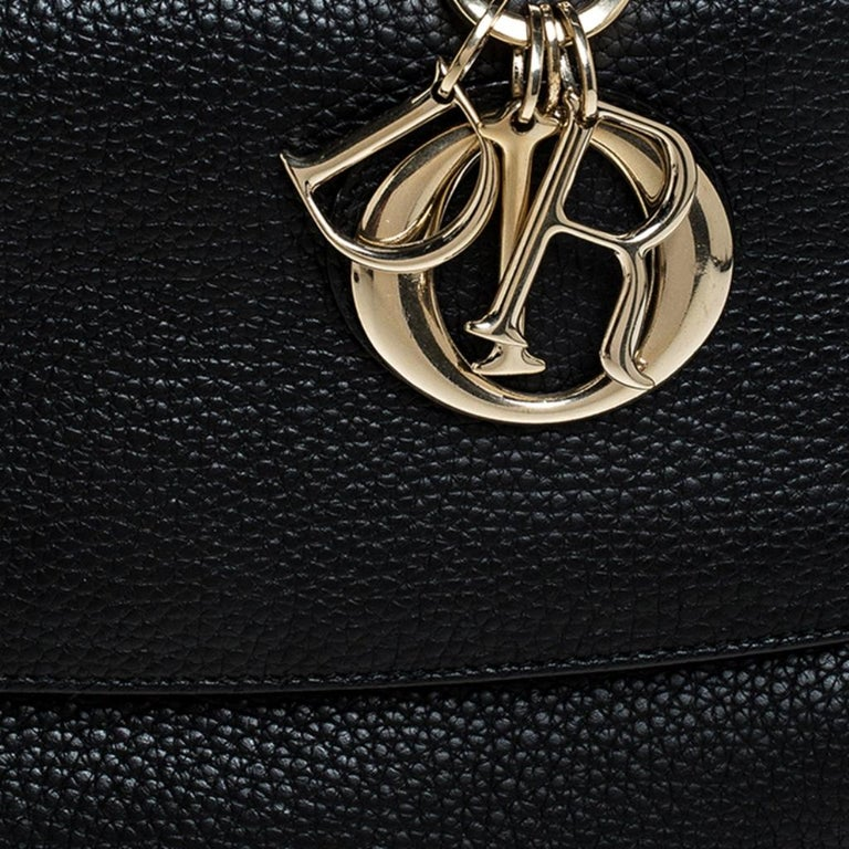 Dior Black Leather Small Be Dior Flap Top Handle Bag For Sale 5