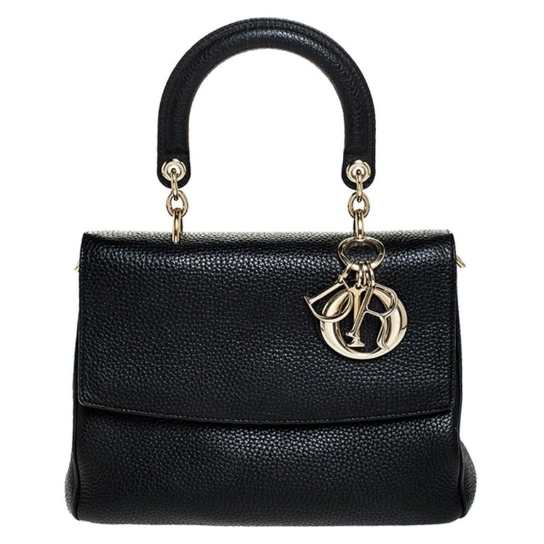Dior Black Leather Small Be Dior Flap Top Handle Bag For Sale
