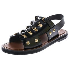Dior Black Leather Wildior Flat Sandals Size 39