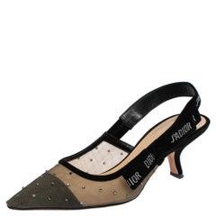 Dior Black Mesh and Suede Studded J'adior Slingback Sandals Size 38