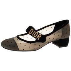 Dior Black Mesh And Suede Trim Baby-D Mary Jane Flats Size 37.5