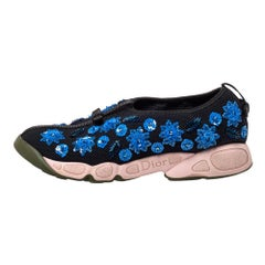 Dior Black Mesh Fusion Embellished Sneakers Size 39.5