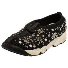 Dior Black Mesh Fusion Floral Embellished Slip On Sneakers Size 39