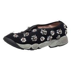 Dior Black Mesh Fusion Floral Embellished Slip On Sneakers Size 40