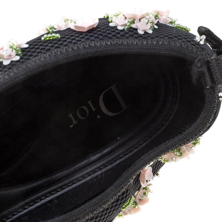 e5858928 Dior Black Mesh Fusion Floral Embellished Slip On Sneakers Size 41