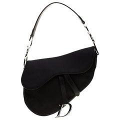 Dior Black Nylon and Patent Leather Saddle Bag