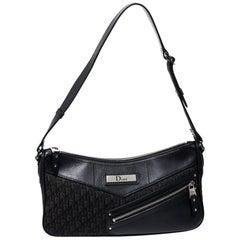 Dior Black Oblique Canvas and Leather Shoulder Bags