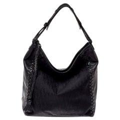 Dior Black Oblique Nylon and Leather Heart Charm Ethnic Hobo