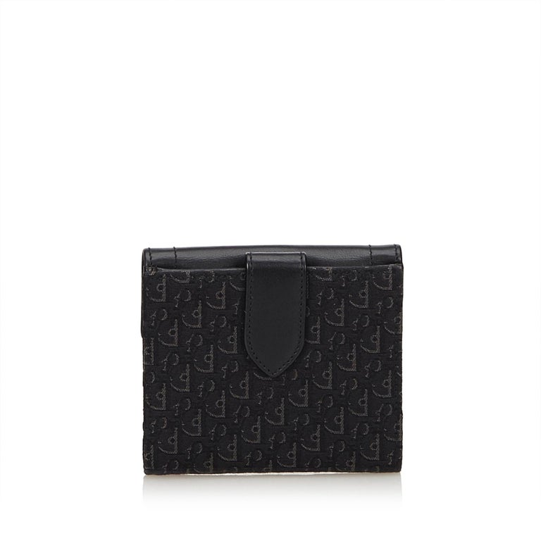 030846a8891 Dior Black Oblique Small Wallet In Good Condition For Sale In Orlando, FL