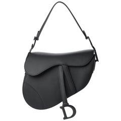 Dior Black on Black Ultramatte Calfskin Leather Saddle Bag w. Original Receipt