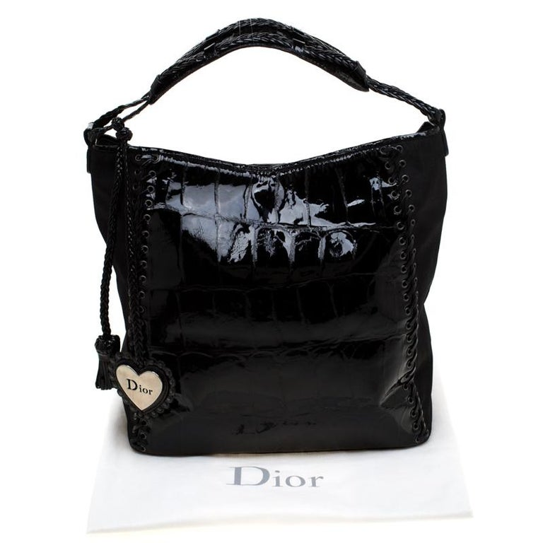 Dior Black Patent Leather and Diorissimo Nylon Lace Up Braided Handle Hobo 8