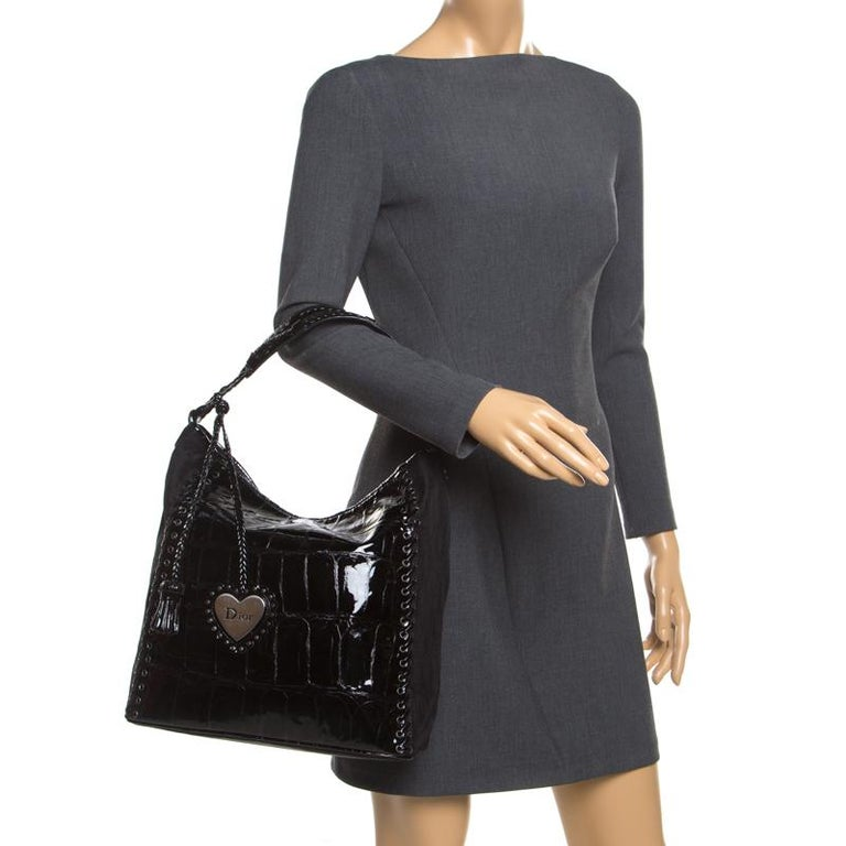 Dior Black Patent Leather and Diorissimo Nylon Lace Up Braided Handle Hobo In Excellent Condition In Dubai, Al Qouz 2
