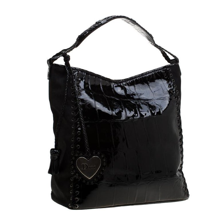 Women's Dior Black Patent Leather and Diorissimo Nylon Lace Up Braided Handle Hobo