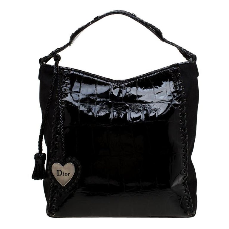 Dior Black Patent Leather and Diorissimo Nylon Lace Up Braided Handle Hobo
