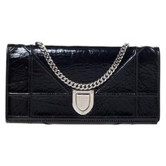 Dior Black Patent Leather Diorama Wallet on chain