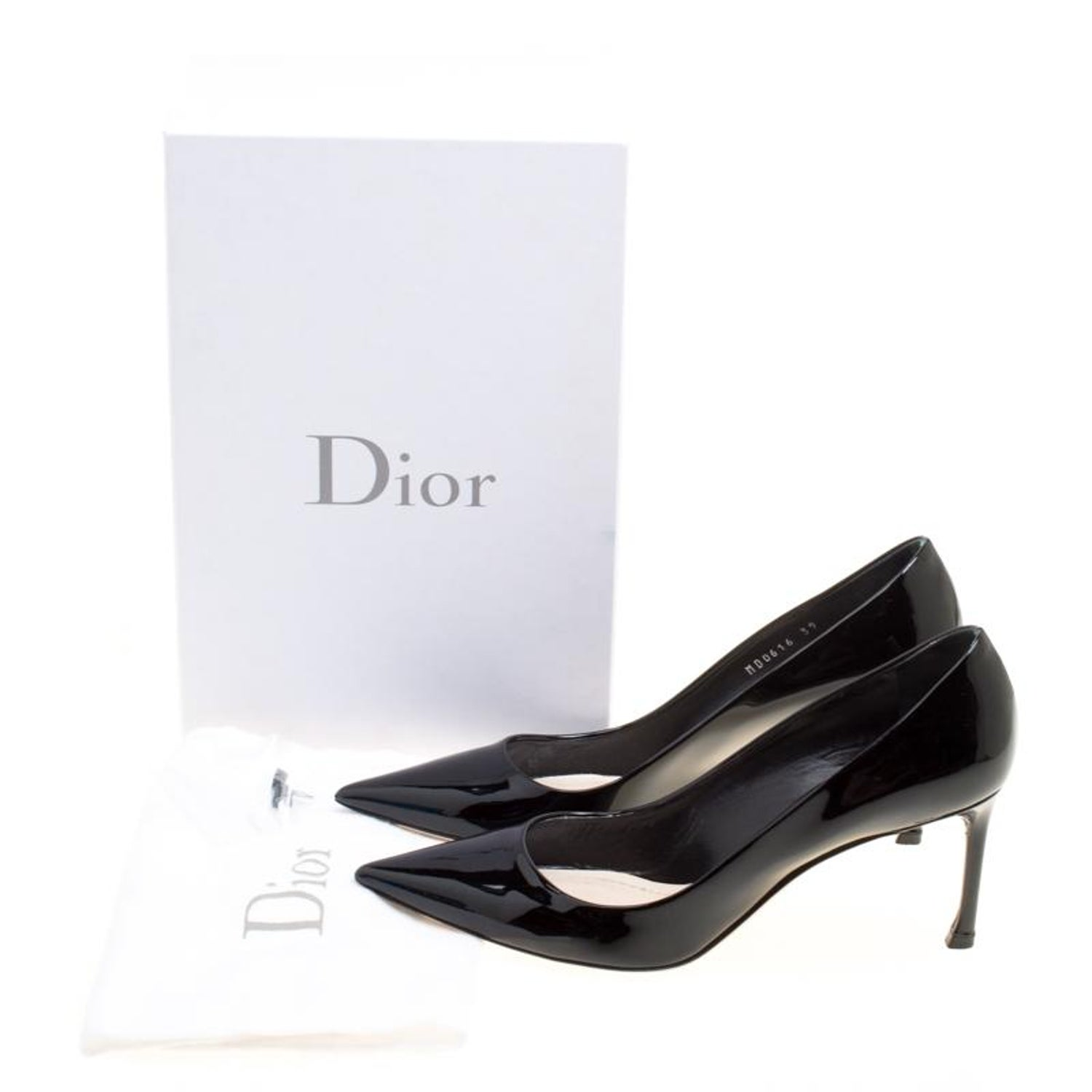 b927e4ffd32d Dior Black Patent Leather Dioressence Pointed Toe Pumps Size 39 For Sale at  1stdibs