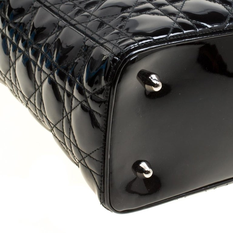 Dior Black Patent Leather Extra Large Lady Dior Top Handle Bag For Sale 6