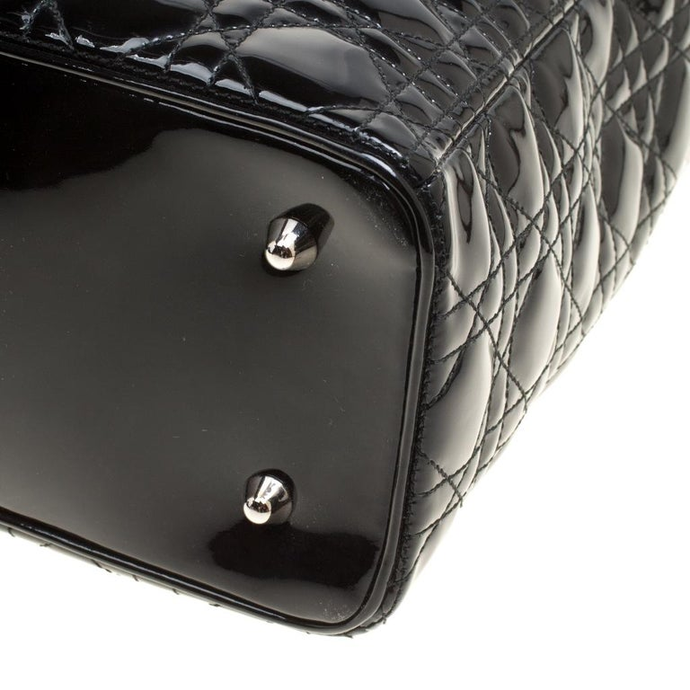 Dior Black Patent Leather Extra Large Lady Dior Top Handle Bag For Sale 7