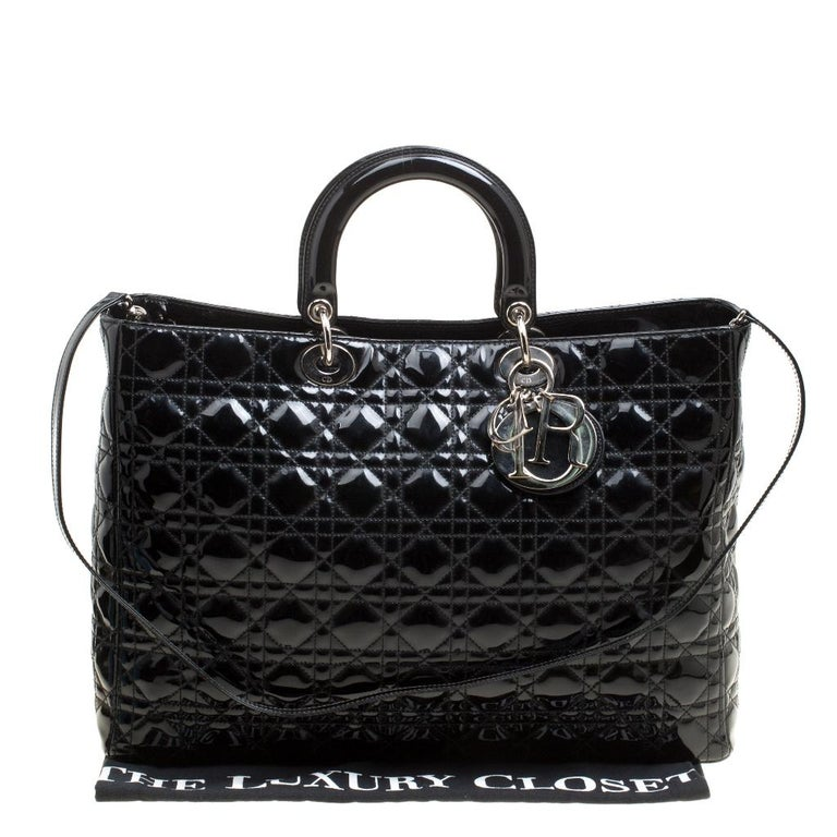 Dior Black Patent Leather Extra Large Lady Dior Top Handle Bag For Sale 8