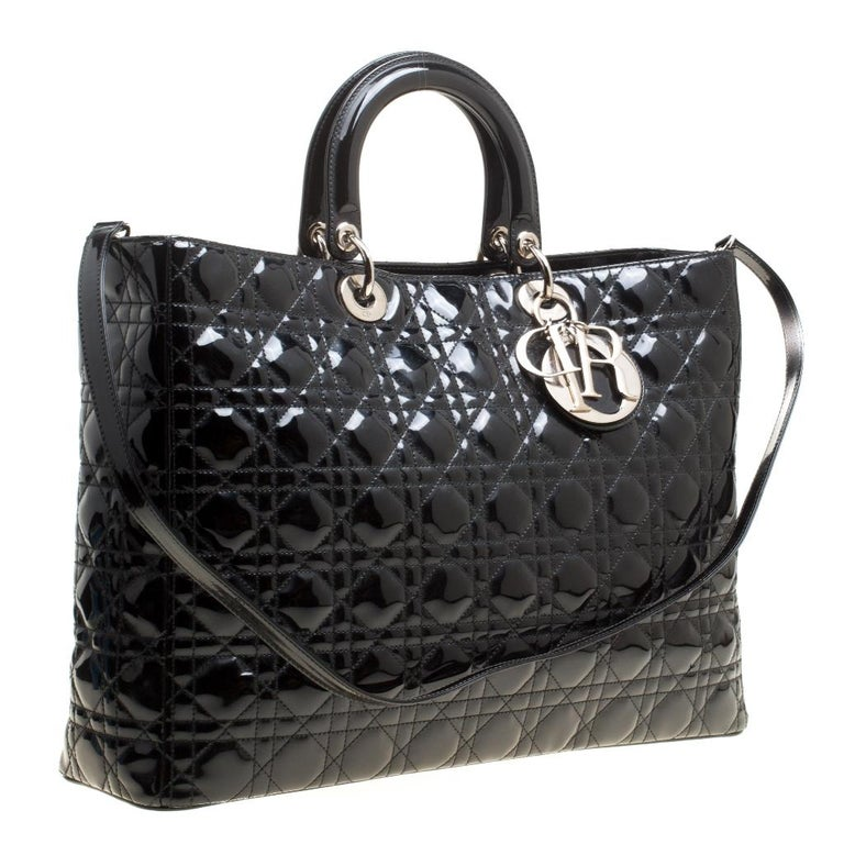 Women's Dior Black Patent Leather Extra Large Lady Dior Top Handle Bag For Sale