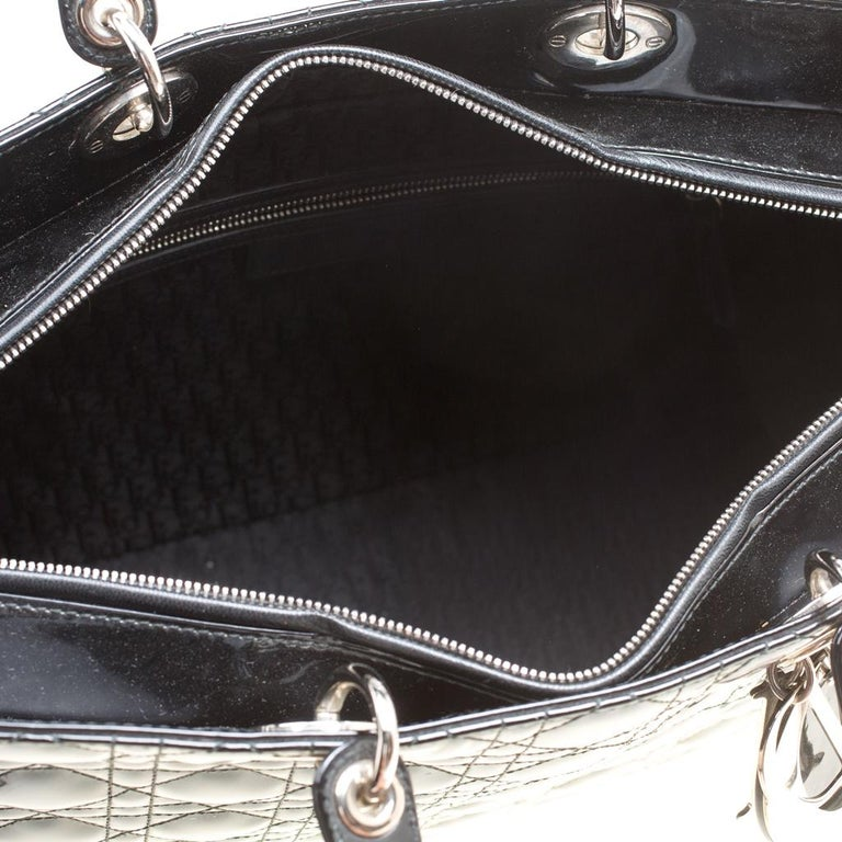 Dior Black Patent Leather Extra Large Lady Dior Top Handle Bag For Sale 4