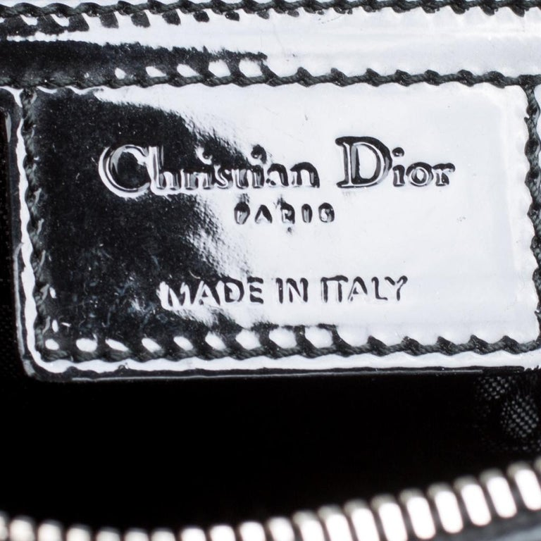 Dior Black Patent Leather Extra Large Lady Dior Top Handle Bag For Sale 5