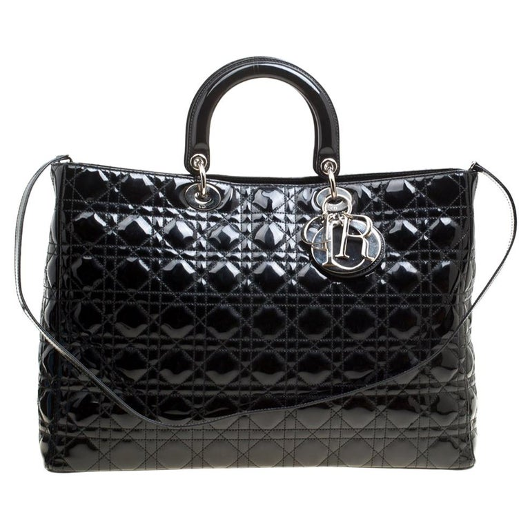 Dior Black Patent Leather Extra Large Lady Dior Top Handle Bag For Sale