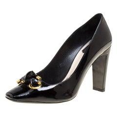 Dior Black Patent Leather Knot Detail Square Toe Pumps Size 40