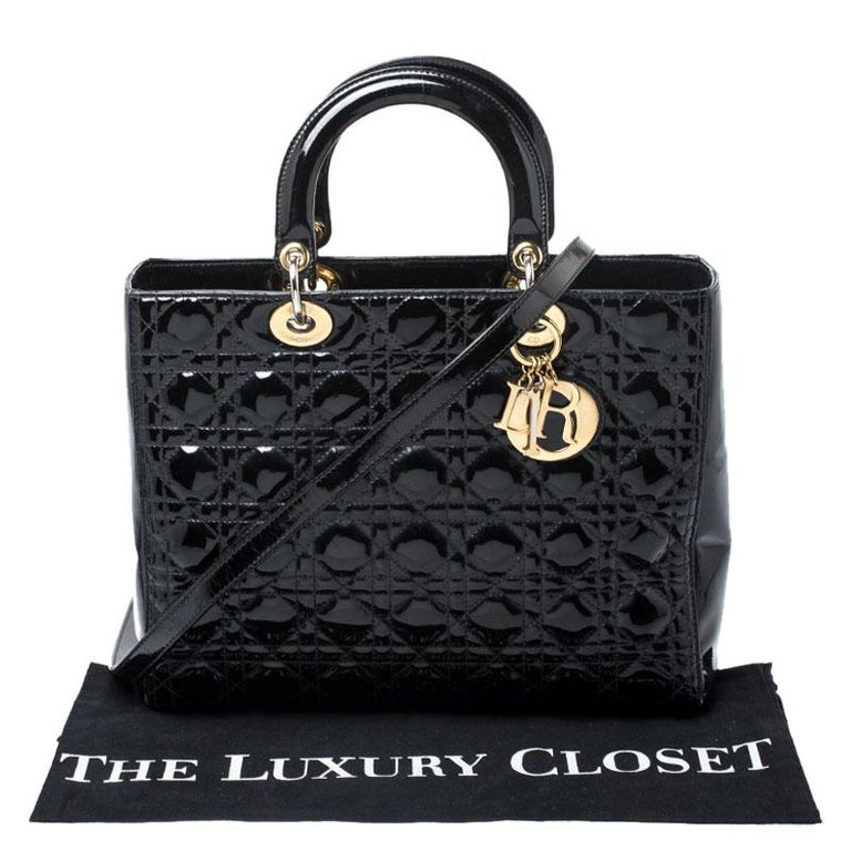Dior Black Patent Leather Large Lady Dior Tote For Sale 8