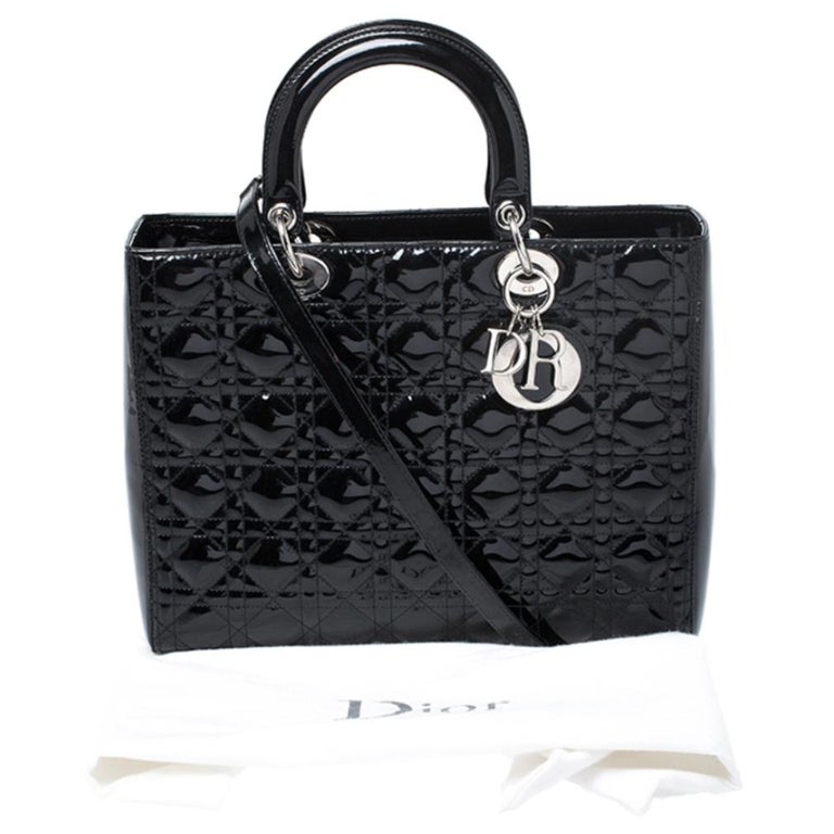 Dior Black Patent Leather Large Lady Dior Tote For Sale 9