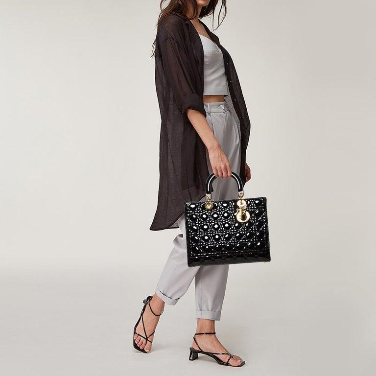 Dior Black Patent Leather Large Lady Dior Tote In Good Condition For Sale In Dubai, Al Qouz 2
