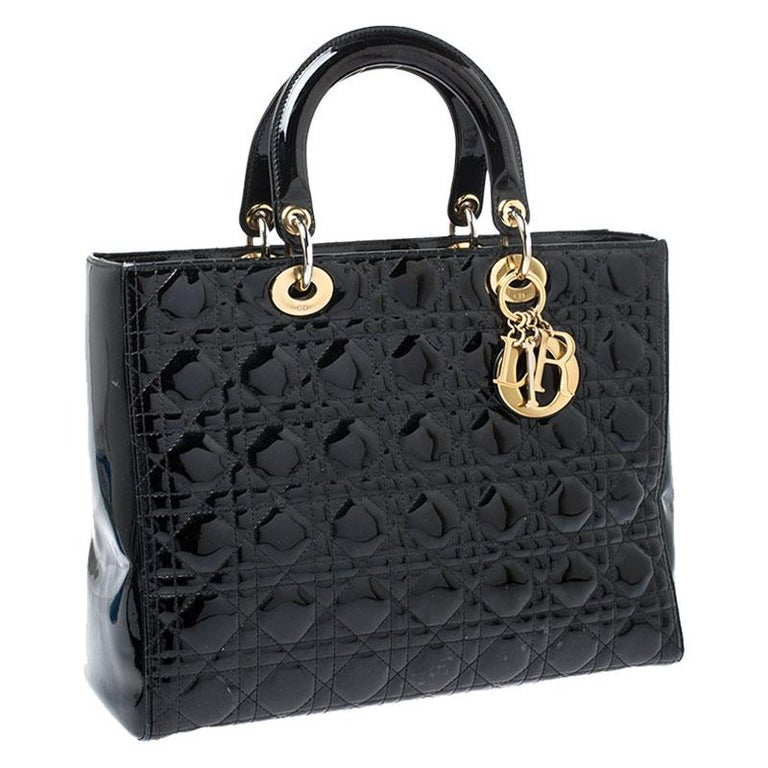 Women's Dior Black Patent Leather Large Lady Dior Tote For Sale