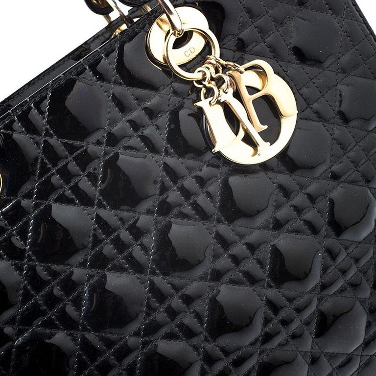Dior Black Patent Leather Large Lady Dior Tote For Sale 3