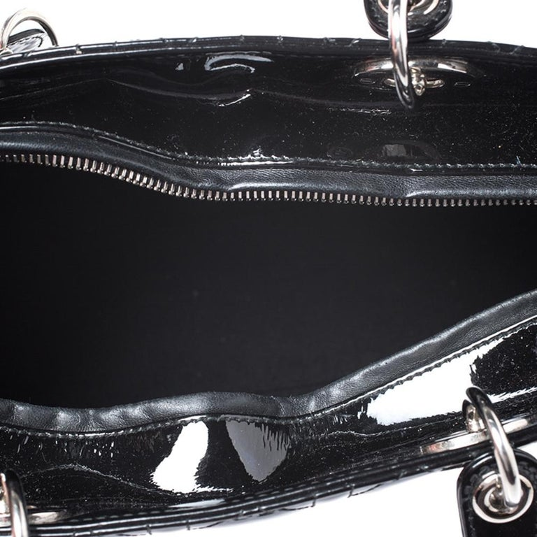 Dior Black Patent Leather Large Lady Dior Tote For Sale 4