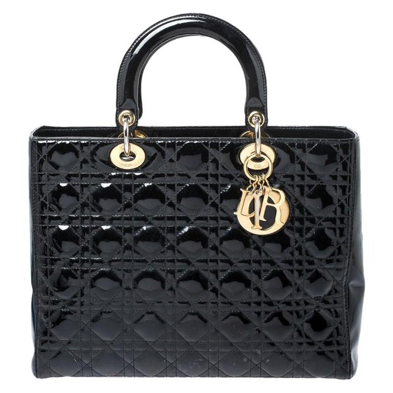 Dior Black Patent Leather Large Lady Dior Tote For Sale