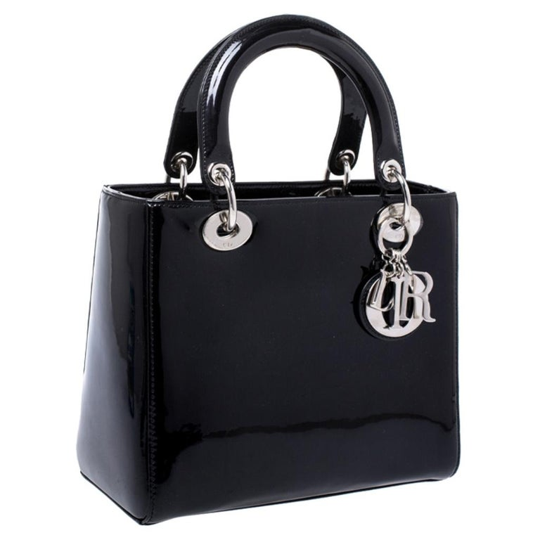Women's Dior Black Patent Leather Medium Lady Dior Tote For Sale