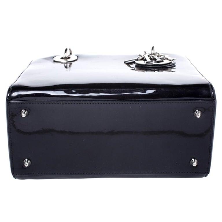 Dior Black Patent Leather Medium Lady Dior Tote For Sale 1