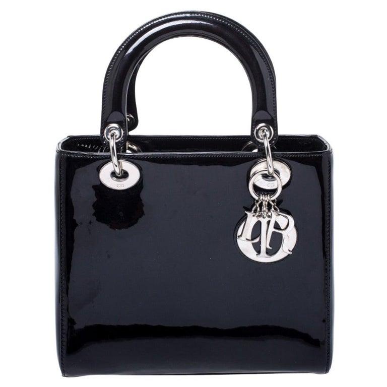 Dior Black Patent Leather Medium Lady Dior Tote For Sale