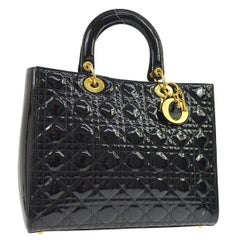 Dior Black Patent Leather Quilted Gold Charm Large Top Handle Satchel Tote Bag