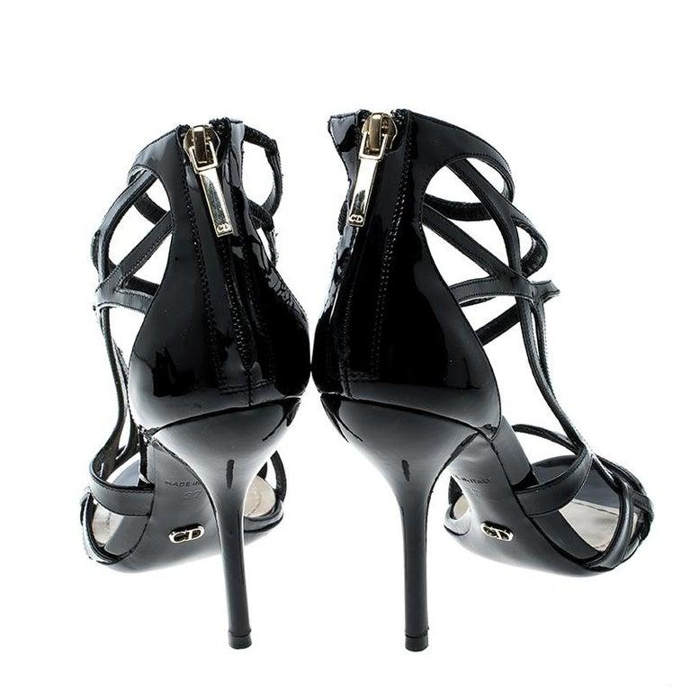 8a9ad2993 Dior Black Patent Leather Strappy Sandals Size 37 In Good Condition For  Sale In Dubai,