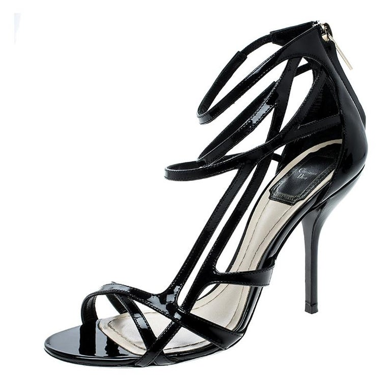 b00f49a2b Dior Black Patent Leather Strappy Sandals Size 37 For Sale at 1stdibs