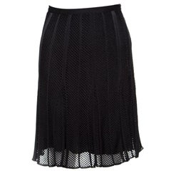 Dior Black Perforated Knit Pleated Mini Skirt M