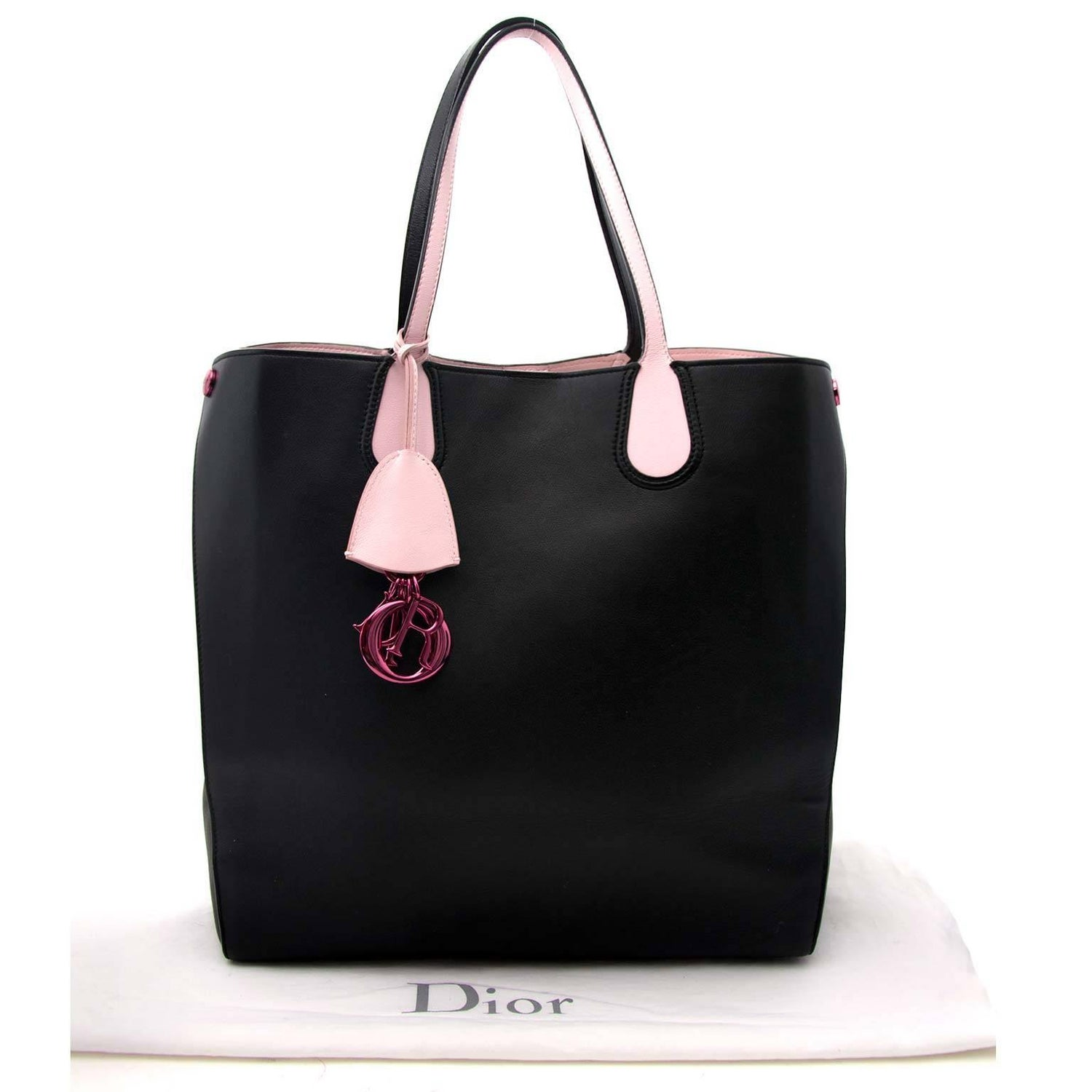 aef22317fee0 Dior Black Pink Leather Logo Charm Addict Vertical Tote Bag