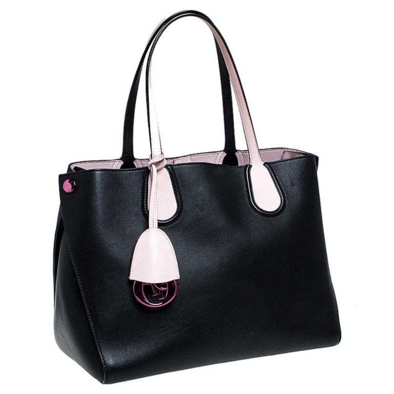 Women's Dior Black/Pink Leather Small Dior Addict Shopping Tote For Sale