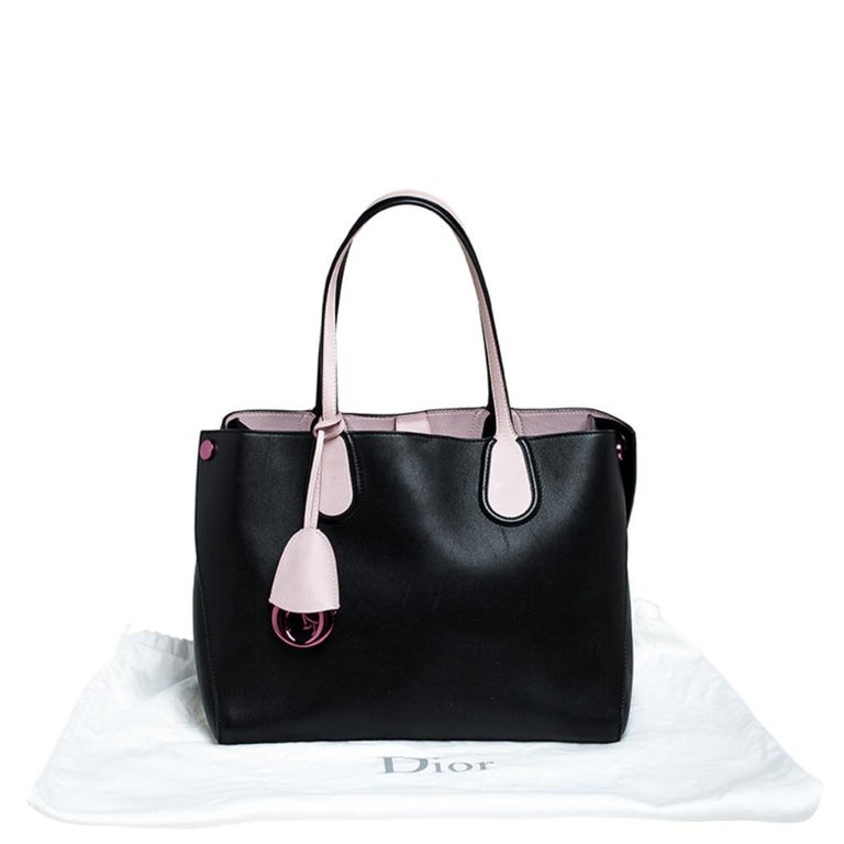 Dior Black/Pink Leather Small Dior Addict Shopping Tote For Sale 5