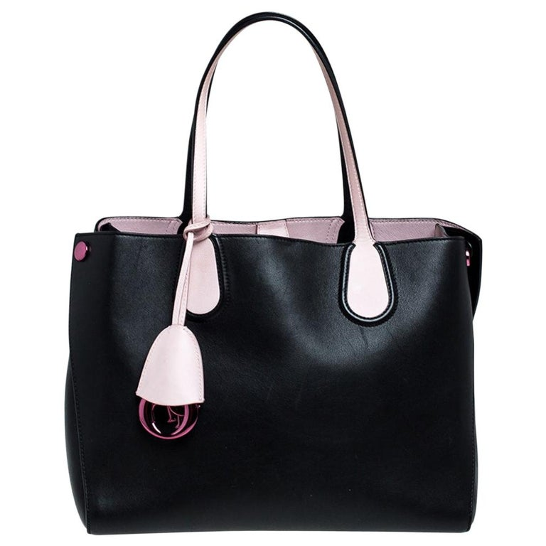 Dior Black/Pink Leather Small Dior Addict Shopping Tote For Sale