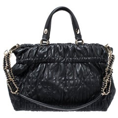 Dior Black Quilted Cannage Leather Delices Gaufre Tote