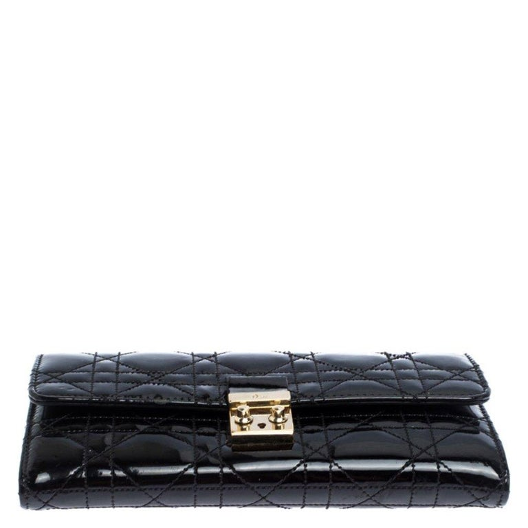 Women's Dior Black Quilted Cannage Patent Leather New Lock Wallet For Sale