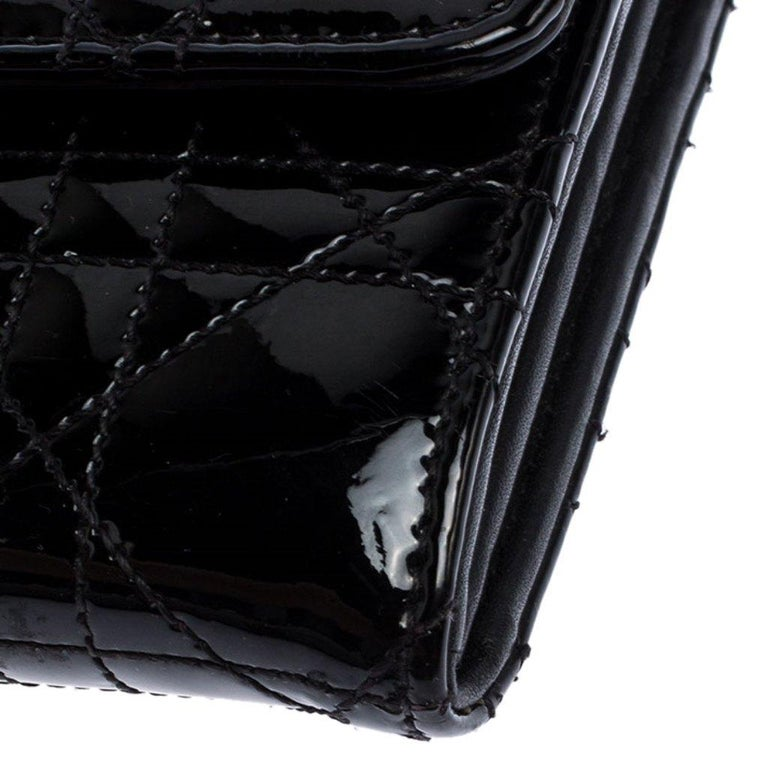 Dior Black Quilted Cannage Patent Leather New Lock Wallet For Sale 1