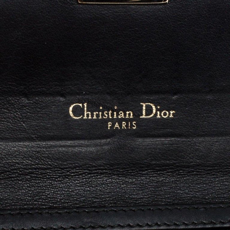 Dior Black Quilted Cannage Patent Leather New Lock Wallet For Sale 5